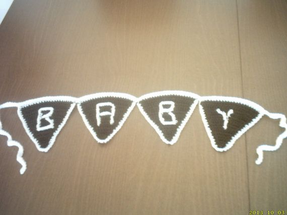 hand crochet photo prop baby sign  bunting by crochetfifi on Etsy