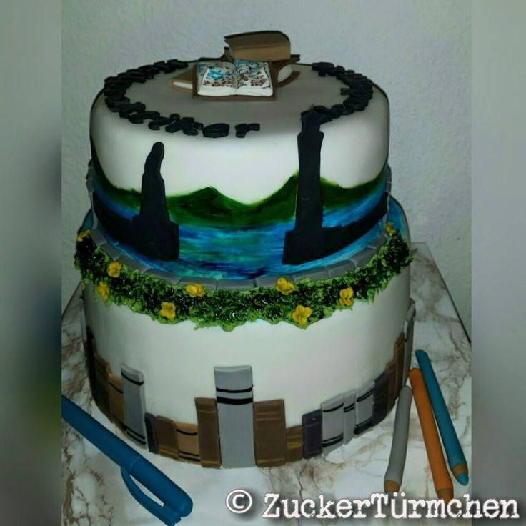 Motivtorte Lindau Bücher Cake Lindau books pens school learn