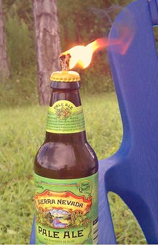 diy beer bottle tiki torch     Beer bottles (not twist-off)    The caps (removed carefully without damage)    Cotton string (thicker the better)    Philips screwdriver    Hammer    Oil (citronella or used cooking oil will work)