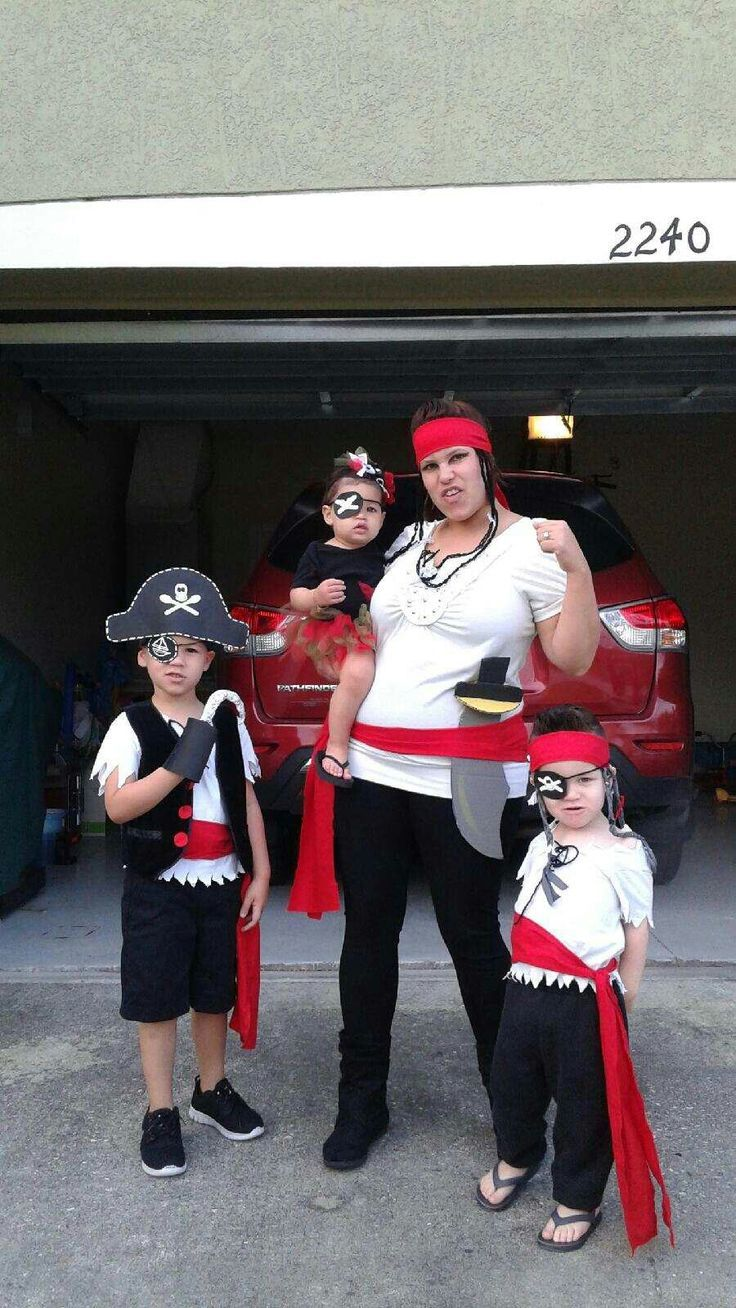 Pirate theme field day at school. Cut up white t-shirt and red fabric for the sa