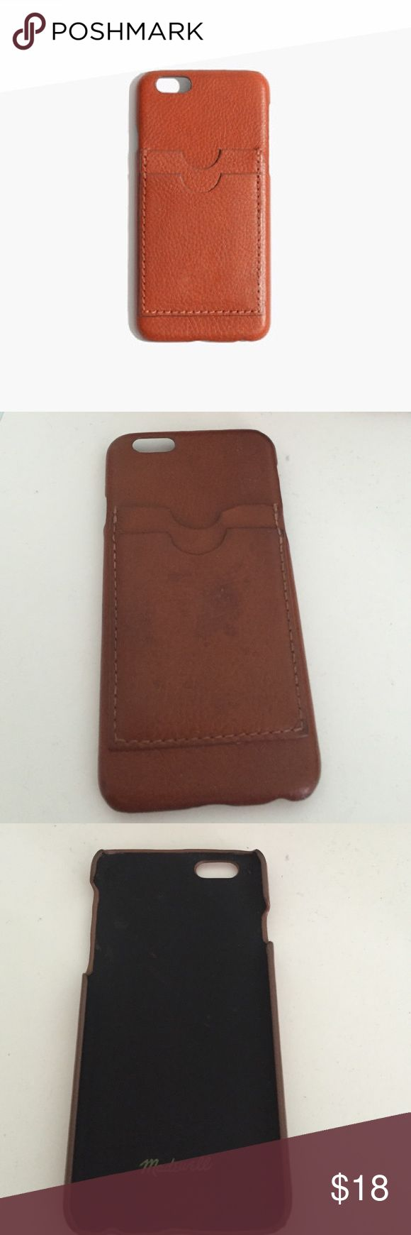 REAL LEATHER brown iPhone 6 phone case Real brown leather snap on iPhone case with credit card holder on back. Bring into your local Madewell for 10$ monogramming! Madewell Accessories Phone Cases