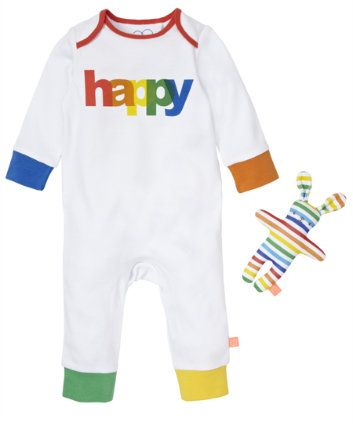 Children's Fashion. Little Bird By Jools Happy All In One with Toy. Let kids fall asleep happy, with our rainbow multi coloured all in one and toy. Spring/Summer 2014 #ChildrensFashion #Kids #Children