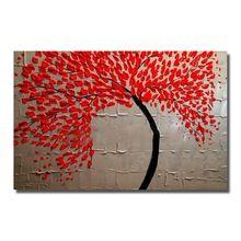 Ücretsiz Nakliye El Boyalı Modern Kırmızı Çiçek Ağacı Yağlıboya resim Oturma Odası Için tuval Duvar Sanatı Dekor Duvar Resimleri Yok Çerçeveli(China (Mainland))