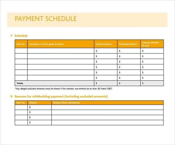 Payment Schedule Template 9 Schedule Template Schedule
