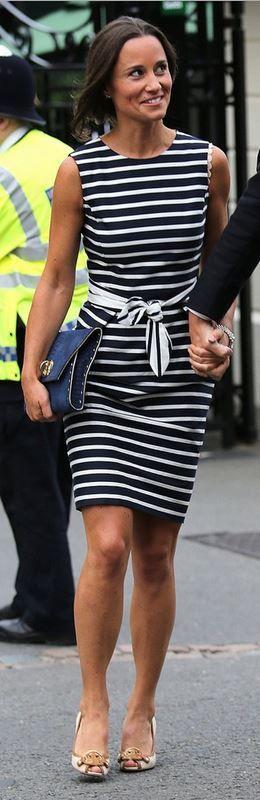 Pippa Middleton: Shoes – Tory Burch  Dress – CH by Carolina Herrera  Purse – Beauchamps of London