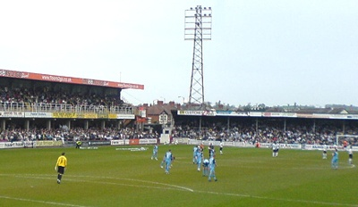 Edgar Street stadium is next door to Hereford's cattle market, and despite fighting all season for survival in League Two, bulls fans have been making considerable noise!