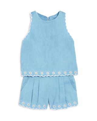 Bloomie's Girls' Embroidered Chambray Top & Shorts - Sizes 2-6X | Bloomingdale's