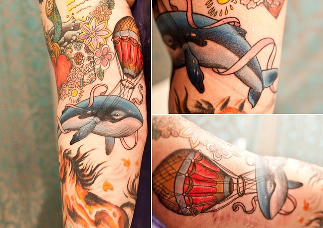 adorable whale with hot air balloon tattoo by ryan mason at scapegoat in portlandia