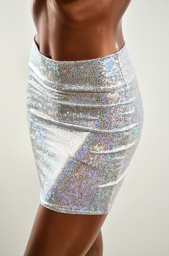 Silver & White Hologram Metallic Bodycon Skirt made from Holographic Lycra Spandex -E7478