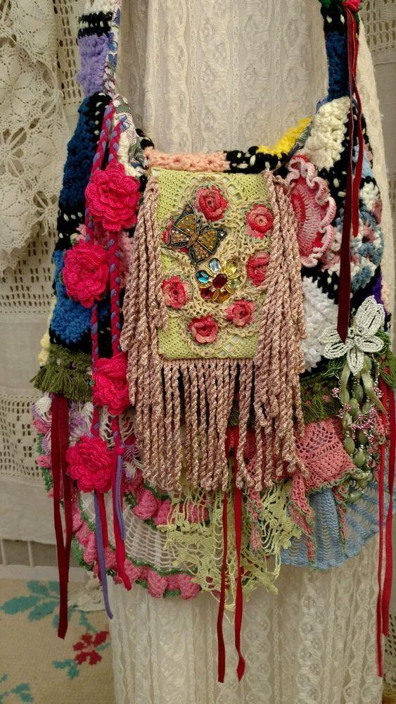Handmade+Vintage+Crochet+Lace+Cross+Body+Bag+Hippie+Boho+Hobo+Doily+Purse+tmyers+#Handmade+#MessengerCrossBody