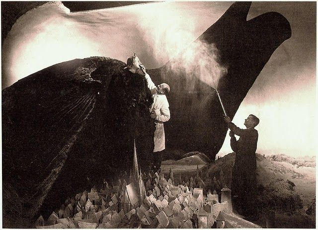 FW Murnau on the set of Faust.
