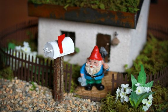 Fairy Garden Accessories Mailbox miniature rustic white woodland mail box for terrarium or miniature garden