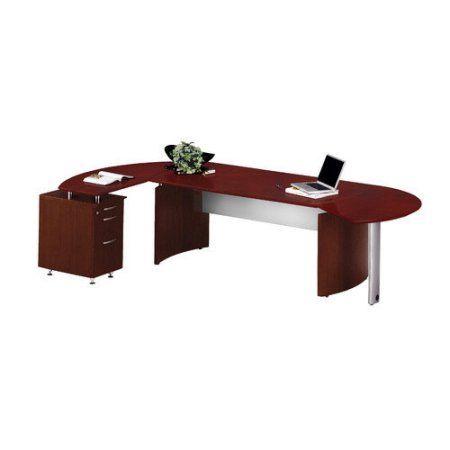 Mayline Medina Series L Shaped Computer Desk In Mocha