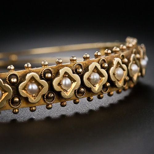 From 19th Century Great Britain , Victorian Seed Pearl Bangle Bracelet