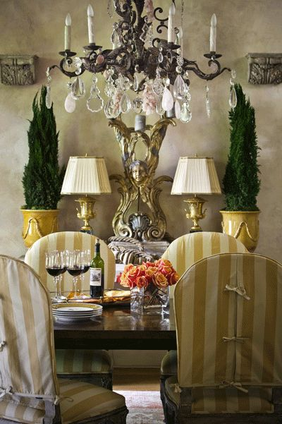 French country dining...DINNER PARTY..how to do the yellow and gold stripes