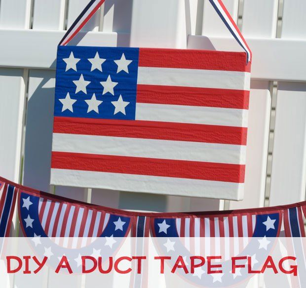 Patriotic Flag Crafts: DIY a Duct Tape Flag. Tutorial on www.CraftsnCoffee.com #DuctTapeCrafts #PatrioticCrafts