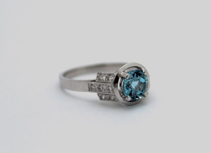 Engagement ring. Art Deco. Hand-made in Melbourne. Aquamarine. Made with 750 white gold. #roseandcrownjewellers #engagement #aquamarine #melbournemade
