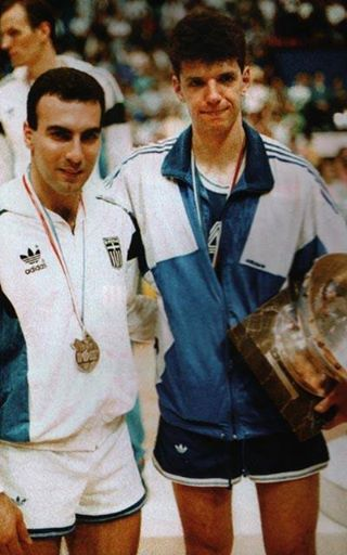 EUROBASKET 1989 Zagreb. After the award ceremony Nikos GALIS with the late Drazen Petrovic.