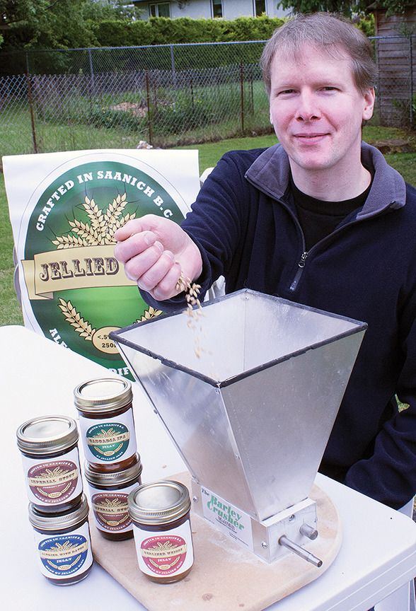Tim Travis sells his Jellied Ales, made from stout, beer, witbier and India Pale Ale at the Oaklands Sunset Markets, 1-2827 Belmont Ave., Victoria B.C. - Travis Paterson/News staff. Good for grilling, with coldcuts, bagels, grilled cheese and even pb&j...
