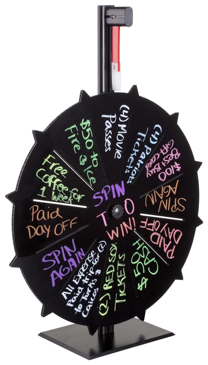 Spin The Wheel Game | Black With Write-On Slots - Loud Clicker