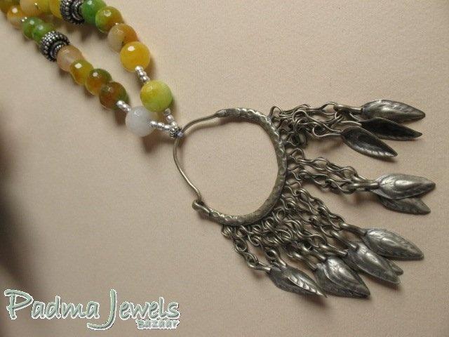 Tintinna agata, indian silver and Kuchi pendant by PadmaJewels, via Flickr