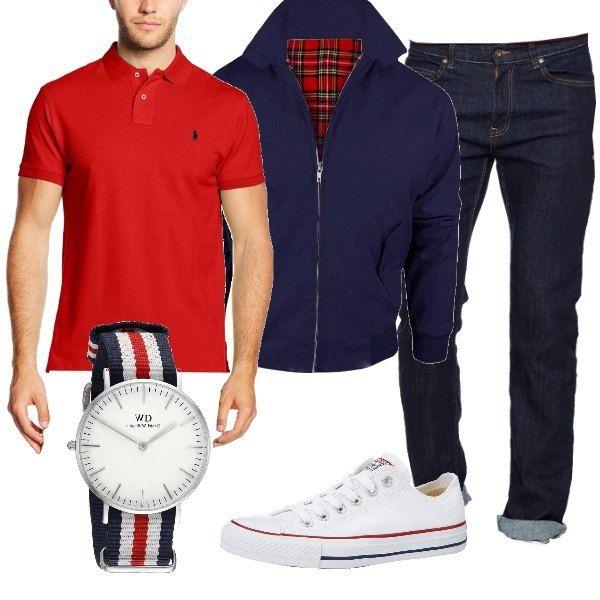 Look sportivo, polo rossa, jeans blu scuro, con risvolto e bomber, blu con lampo. Sneaker bianca, con rifiniture rosse e blu. L'orologio con cinturino in tessuto, dai stessi colori dell'outfit, è il regalo perfetto, per un papà sportivo.