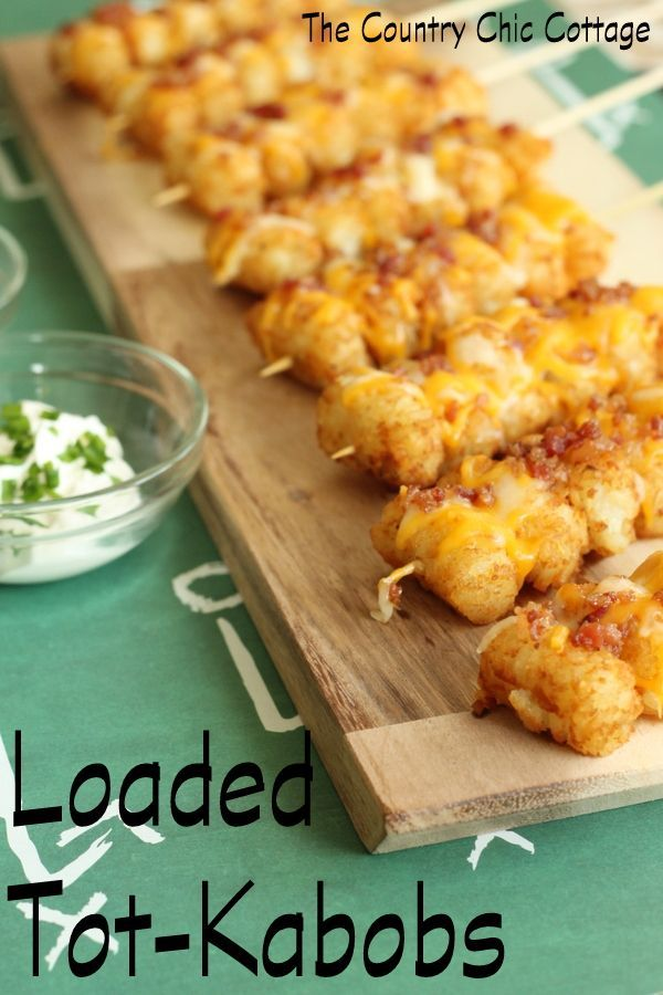 Loaded Tot Kabobs -- turn tater tots into perfect party food with this simple recipe! #recipe #kidsfood #football