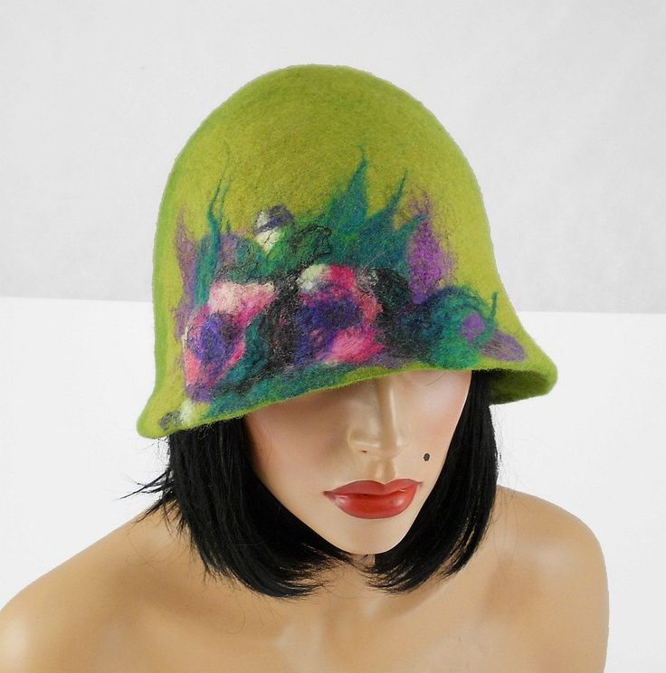 Felted Hat Cloche Hat green olive Flapper Hat gray wool hat art deco wearable art wool felt nunofelt nuno felt silk eco fiber art