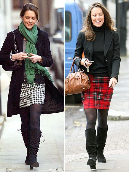 PRINTED SKIRTS  The British press often points to Middleton's collection of suede knee-high boots as her ultimate style signature – an accessory she pairs with her checked and plaid pencil skirts for busy days in London.