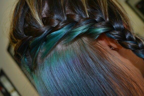 Blue and green plait #duethairdesign