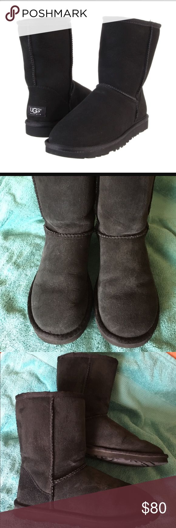 Short black UGG shearling boots Short black Uggs in size 6 (these run a little big, I normally wear a 6.5-7 with a slightly wider foot, and these fit well). These were purchased in fall and worn several times but are still in good condition. A little wear but no damage, rips, stains, etc. Soles are also in good condition as seen in the photos. UGG Shoes Winter & Rain Boots