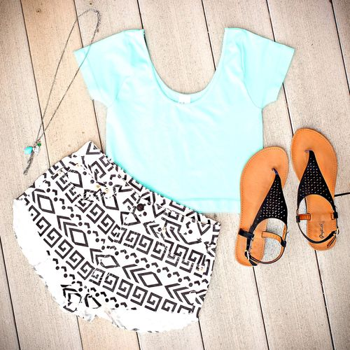 I love this outfit! I love the tribal shorts, but if it is cold outside an alternative is tribal print leggings!