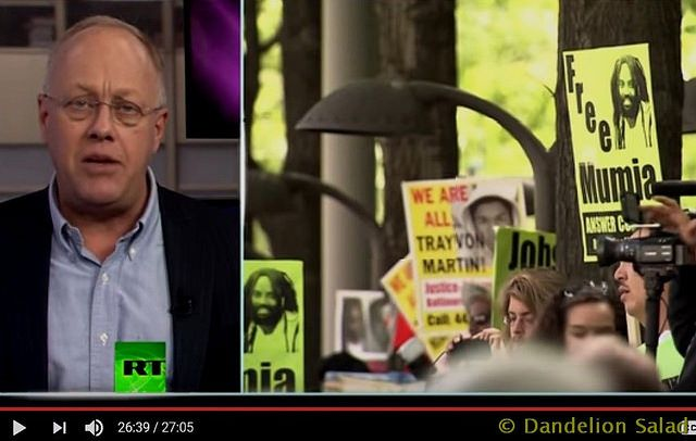 Dandelion Salad with Chris Hedges RT America on May 13, 2017 This week, imprisoned writer and activist Mumia Abu Jamal joins On Contact by phone from prison to discuss the new-slave narrative and s…