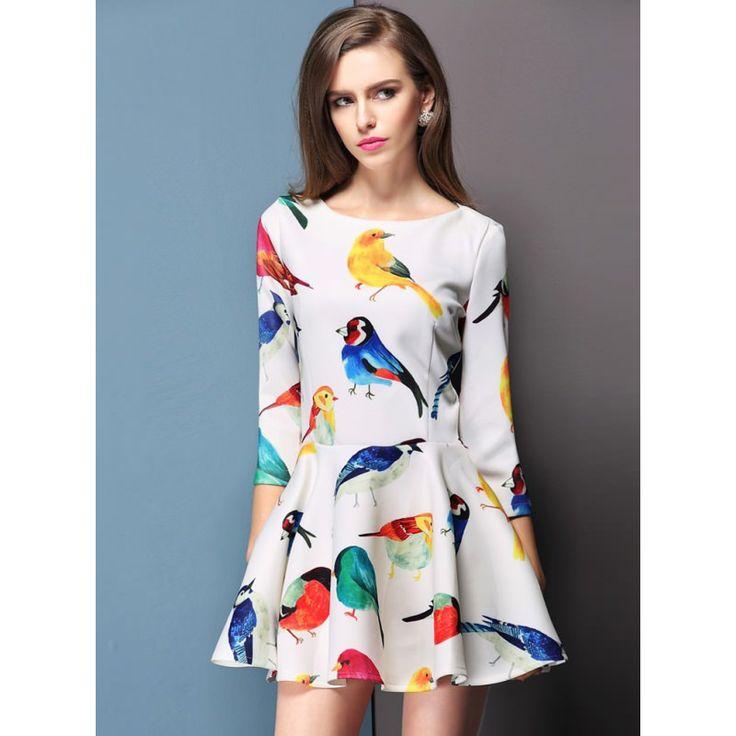 kuş motifli #japon #style #elbise modelleri de harika