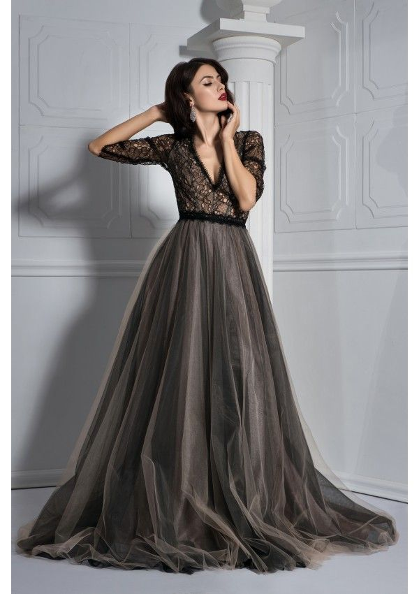 816be123d4 Evening gown with three-quarters sleeves. Black ballroom tulle dress  HAPPYNESS. Amazing lace dress with deep V-neckline.