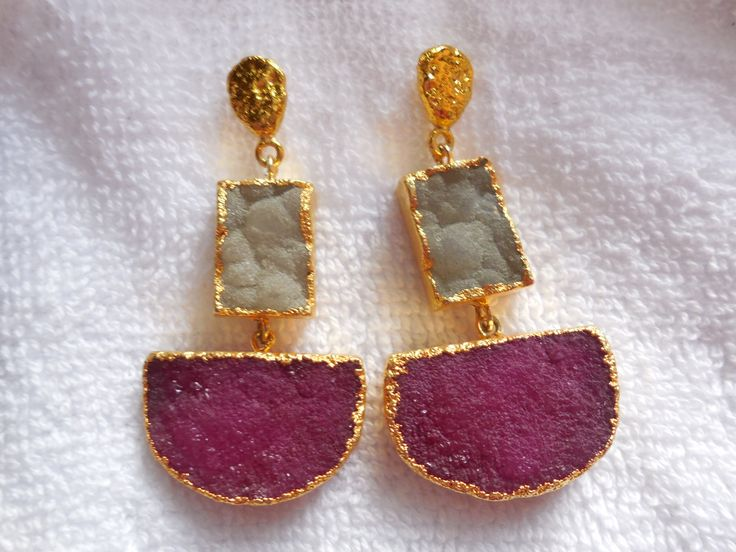 Natural Druzy Earring,24K Gold edge Electroplated Ear dangle,Geode Druzy Gemstone Earring,ear jewelry,Boho by InternationalByBeads on Etsy