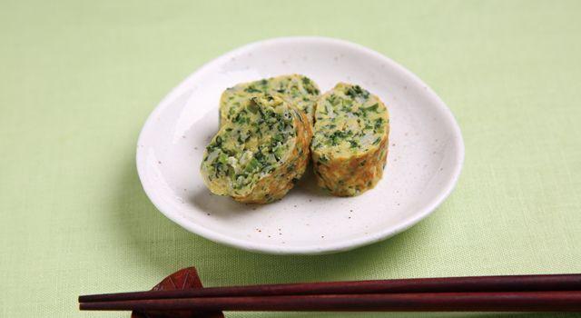 小松菜としらす干しの卵焼きレシピ