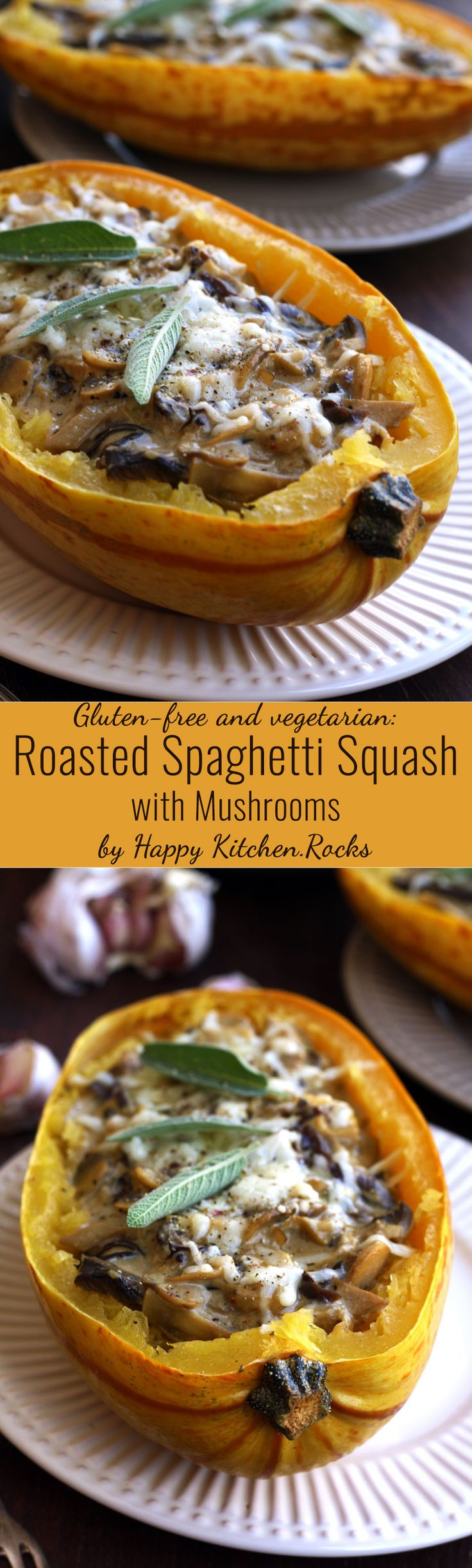 Easy and delicious roasted spaghetti squash with mushrooms made with 9 simple ingredients. Great vegetarian and gluten-free dinner recipe ready in 1 hour from start to finish!
