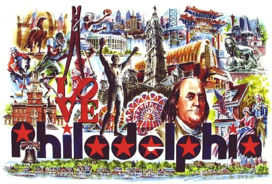 "Collage ""I Love Philadelphia"" by William C. Ressler.  How many of these iconic #philly things will you see while visiting #digifam?"