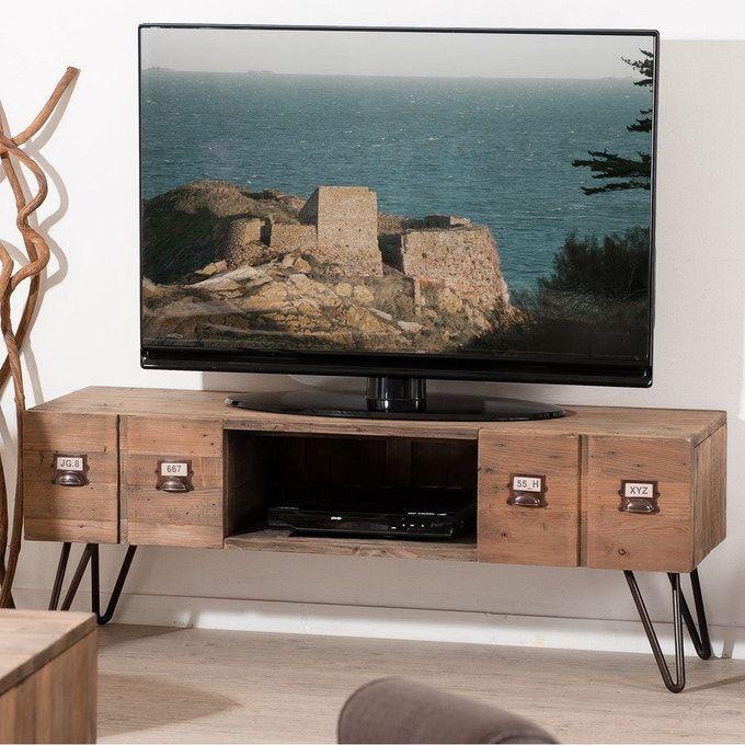 Meuble Tv 131cm Bois Pin Recycle 2 Tiroirs 1 Niche Style Industriel Apothicaire Atelier Meuble Tv Style Industriel Mobilier De Salon