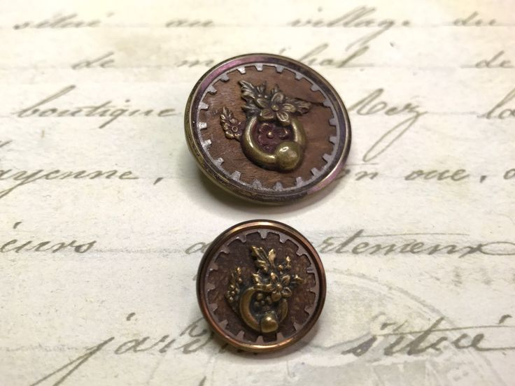 2 Antique large medium Picture Door knocker Buttons mother daughter pair 22 mm 17 mm by GwensButtons on Etsy https://www.etsy.com/ca/listing/559324493/2-antique-large-medium-picture-door