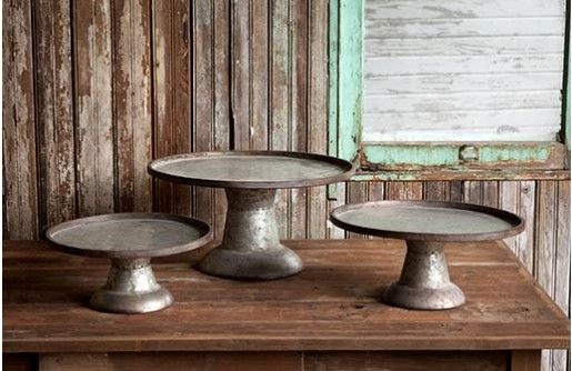Entertain in style this Fall with our vintage Cake Stands! Each Metal Cake Stand is a Galvanized Metal Cake Stand that will be perfect for holding sweet treats and decorative arrangements! For more visit, www.decorsteals.com OR www.facebook.com.decorsteals.
