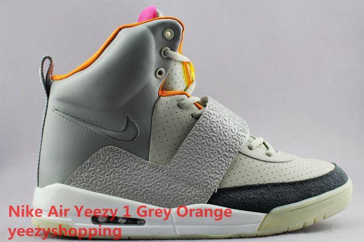 """Kanye West Nike Air Yeezy 1(I) Grey/Orange With """"Y"""" on shoe toe"""
