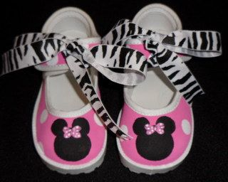 Minnie Mouse Pink Zebra Mary Jane Shoes|Hand painted Character Shoes for Babies & Toddlers|Minnie Mouse Custom Shoes