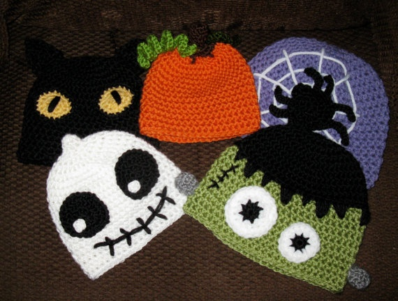Crochet Pattern Hat Halloween Assortment Black Kitty Cat
