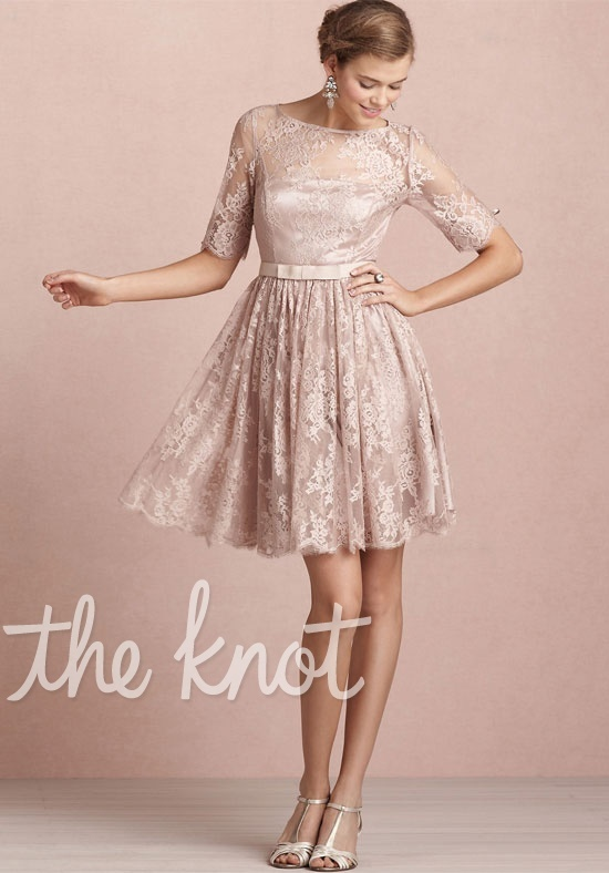 BHLDN - Tea Rose Dress - Dress features lace and 3/4-length sleeves.(bridesmaid)