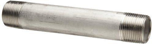 "Stainless Steel 316/316L Pipe Fitting, Nipple, Schedule 40 Welded, 3/4"" X 6"" NPT Male Merit Brass"