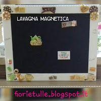 lavagna magnetica nera con cornice dipinta