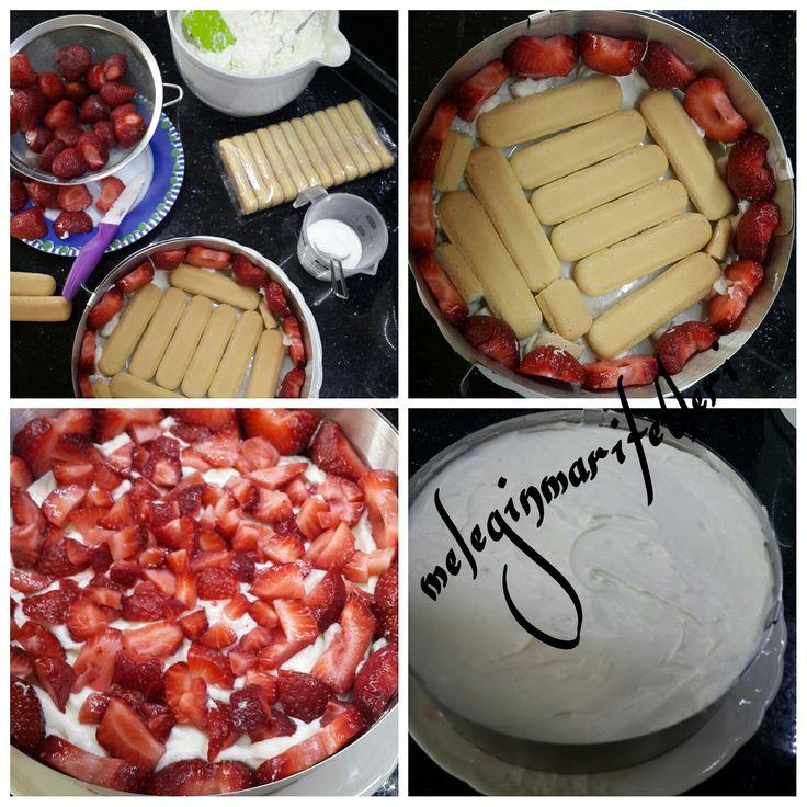 Çilekli kolay pasta