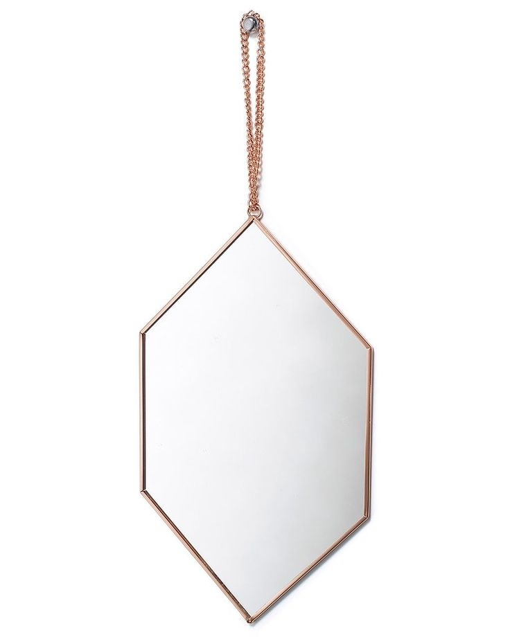 Hanging Mirror on Chain with Diamond Shaped Copper Frame, Small